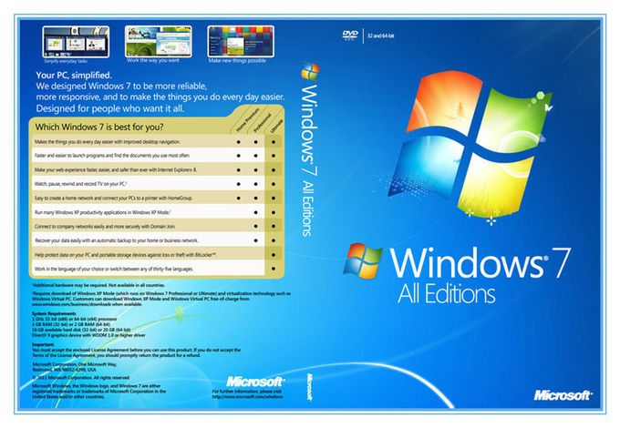 64bit  COA License Sticker Windows 7 Home Premium Activation Key By Internet Online
